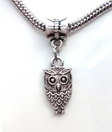 Wholesale Nights Zodiac - big hole pandora Pendant Hot jewelry Europe USA flat owl pendant Night elf Necklace bracelet accessories flying animals Alloy Loose Beads