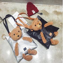 grande bolsa preta bonita Desconto Urso bonito Sacos de Ombro Top-Handle Bags Pu Couro Grande das Mulheres Bolsas Sacola Do Vintage de Alta Qualidade Preto Para As Mulheres
