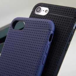 Wholesale Net Hole Iphone - Net hole style case For iphone 7 Plus soft TPU silicone luxury leather back cover black and dark blue colors free shipping