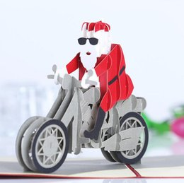 Wholesale Origami Pop Up Greeting Cards - 10pcs Santa Motorcycle Kirigami Origami 3D Pop UP Greeting Cards Invitation card For Wedding Christmas Birthday Party Gift