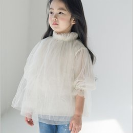 Wholesale White Gauze Top - 2017 new Fairy Girls Shirts Lace Gauze Shirt Princess Casual Shirt Tops Half pagoda Sleeve Tee Kids Girl T-shirts White Pink White A6204