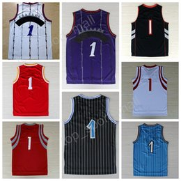 Wholesale Mens Black Sleeveless - Mens 1 Tracy McGrady Jersey Throwback Tracy McGrady Basketball Jerseys Retro Blue All Star Black White Purple All Stitched with player name