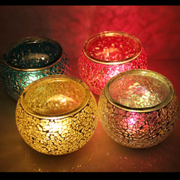 Wholesale Mosaic Candle Holders For Weddings - 2017 New Candle Holder Glass Votive for Wedding, Birthday, Holiday & Home Decoration by Royal Imports, Mosaic Glass Tealight Votive