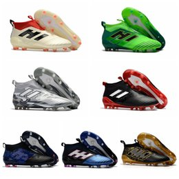 Wholesale Cheap Indoor Soccer Shoes Kids - 2017 kids original leather shoes indoor cheap soccer cleats ace 17 purecontrol primeknit FG TF authentic football boots laceless New