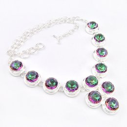 Wholesale 925 Silver Jewelry Dragon - New Arrival Real Tennis, Graduated Mexican Women's Dragon 925 Sterling Silver Natural Stone Mystic Topaz Crystal Necklace Jewelry N0096