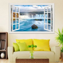 Wholesale 3d Decals For Walls - 3d Window Stickers Amazing Waterfall Scenery Landscape Wallpaper Mural Art PVC Vinyl Decal Home Decoration Wall Decal