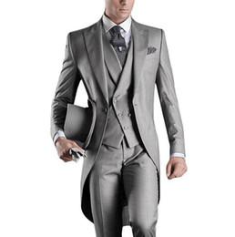 Wholesale Green Wedding Suits For Men - Wholesale- Best Selling 2016 Custom Mens Suits Italian Tailcoat Gray Wedding Suits For Men Groom Mens Tuxedo Suits (Jacket+Pants+Vest)