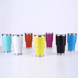 Wholesale Led Light Beer Mugs - Rambler Tumblers 30oz 20oz 7 colors Stainless Steel For YETI RTIC Style Wine Glass Cup Double Wall Cups Travel Vehicle Beer Mugs