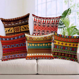 Wholesale Giraffe Throw - Giraffe Cushion Cover Bohemian Style Throw Pillow Case Linen Sofa Bed Car Cushion Cover 45cmx45cm 5 Pattern