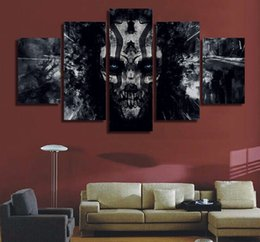 Telai all'ingrosso per quadri di tela online-Commercio all'ingrosso astratto Dark Skull Paintings Art Wall Canvas Picture regalo per gli uomini decorazione della casa No Frame spedizione gratuita