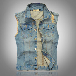 Wholesale Wholesale Denim Jackets Vests - Wholesale- 2016 New Stylish Cool Men`s Denim Vest Plus Size 6XL Vintage Ripped Distressed Waistcoat Sleeveless Jeans Jacket For Men
