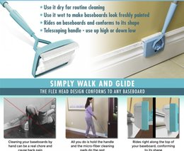 Wholesale Microfiber Household Cleaning Cloths - 48pcs Baseboard Buddy Cleaning Mop Simply Walk Glide Extendable Microfiber Dust Brush Household Cleaning Tool Baseboard Buddy Mops