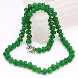 abacus gifts Coupons - Free delivery Natural green Malaysia jade stone 5*8mm abacus faceted beads choker necklace for women clavicle chain gifts jewelry