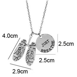 Wholesale Body Jewelry Necklaces - Creative just breathe necklace Chest anatomy pendant heart shape jewelry Body Part Pendant Necklace Medicine Anatomy Biology Anatomical