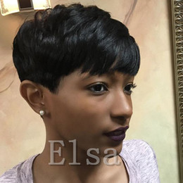Wholesale Short Front Lace Wig - Top quality Short Pixie brazilian human hair wigs glueless full lace lace front cut human hair wigs for black women