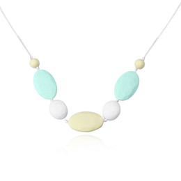 Wholesale Plastic Oval Beads - New Arrival Oval Silicone Beads Teething Necklace Geometric Rainbow Plastic Food Grade Teether Long Necklace Nursing Necklace New Mom Gift