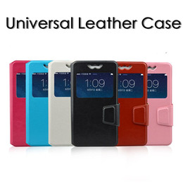 Wholesale Pull Leather - New Universal Slide Leather Flip Case General Push-Pull View Window Cover for 3.8 to 6.0 inch Size Andriod Phone Case for iphone Samsung