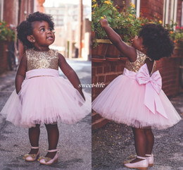 Wholesale Cheap Big Girl Wedding Dresses - Baby Infant Toddler Birthday Party Pageant Dress Ball Gown Pink Tulle Big Bow Open Back 2017 Cheap Country Beach Wedding Flower Girl Dresses