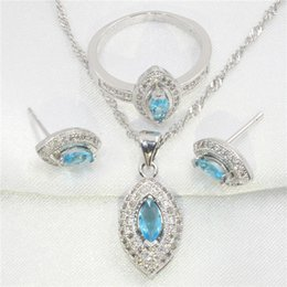 Wholesale Necklace Earring Sets White Black - Horse eye shape sky blue topaz 925 sterling silver jewelry earring, pendant necklace, the wedding ring set women free gift box