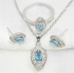 Wholesale Tibet Horse - Horse eye shape sky blue topaz 925 sterling silver jewelry earring, pendant necklace, the wedding ring set women free gift box