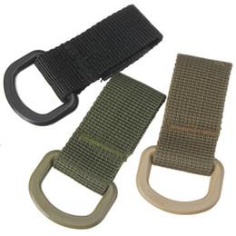 Wholesale Tactical Belt Webbing - Wholesale-Tactical Multifunction High Strength Nylon Molle Webbing Belt D-Ring Carabiner Buckle Hanging Keychain Backpack Key Hook