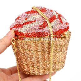 2019 женская свадебная дизайнерская клатч Wholesale- Designer  Crystal Evening Bag Fashion Cupcake Diamond Clutch Soiree Purse Women Wedding Bride Cake Handbags SC518 дешево женская свадебная дизайнерская клатч