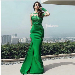 Wholesale Cheapest Knitted Dress - Vestidos De Noiva 2017 New Arrival Sexy Long Sleeves Sheer Lace Mermaid Prom Dresses Green Plus Evening Dress Prom Dress Custom Made Cheap