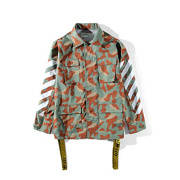 Wholesale Men S Short Jacket Style - 2017 NEW style off white men's cotton jackets Arrow printed Camouflage patch field jacket More pocket decoration S--XL