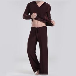 Wholesale Sport Pyjamas - Brand Clothing Ice Silk pyjamas men satin bathrobe Loose sleepwear Leisure Sports Cloth yoga Suit pyjama set = Tops + Pants