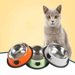 Wholesale Bowl Feeders Stainless - Pet Stainless Steel Paint Cat Double Bowl Bowl Cat Food Feeder Wholesale