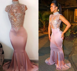 Wholesale Blue Girl Beading - Sexy Mermaid Prom Dresses High Neck Sleeveless Illusion Crystal Appliques Satin Sparkle Pink African Black Girls Party Dresses Evening Gowns