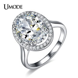Wholesale Egg Plant - UMODE Gorgeous Halo Engagement Ring Stunning Ultra Big 6 Oval Egg CZ and Micro Cubic Zirconia Fashion Wedding Ring UR0144