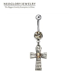 Wholesale Antique Crystal Rings - Antique Silver Plated Cross Rhinestone Piercing Belly Button Rings Navel for Women Body Beach Neoglory Jewelry