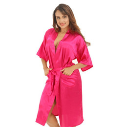 Wholesale- Hot Pink Female Sexy Silk Rayon Robe Chinese Women Sleepwear Kimono  Bath Gown Nightgown Plus Size S M L XL XXL XXXL hot chinese robes outlet 50a696f29