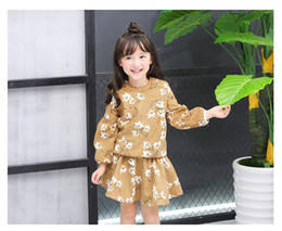 Wholesale Kids Gray Pleated Skirt - Kids princess outfits girls cotton floral long sleeve sweater+floral ruffle pleated skirt 2pcs sets 2017 new autumn children clothes C0375