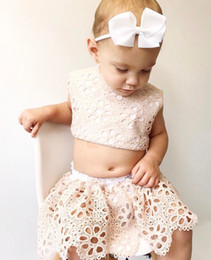 Wholesale Toddler Boy Bloomers - 2017 INS baby girl infant toddler Summer clothes 2piece set outfits Lace Tank Tops Shirt Vest Tube + Lace Hollow Shorts Pants Bloomers
