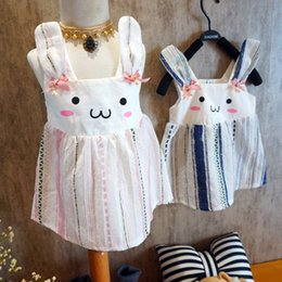 Wholesale Tutu Dress Colours - 2017 Summer girls pure cotton Sleeveless bunny dress baby girl rabbit princess dresses 2 colour choose size