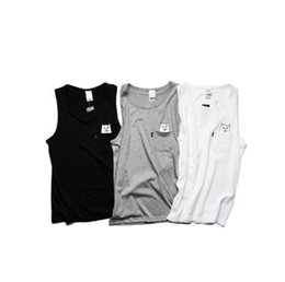 Wholesale Tank Top Women Style - New Arrival Summer Style Casual Ripndip Tank Tops Men Women High Quality Cotton Baseball Skateboards Solid Tank Top Fitness Vest