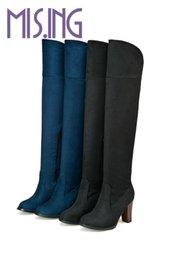 Wholesale Hot Long Boots - Wholesale- Hot sales Stovepipe Knight boots fashion Concise Over-the-Knee long boots high heels Zip Round Toe Stretch Fabric women boots