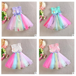 Wholesale Wholesale Metallic Party Dresses - Rainbow Girl Dresses Princess Party Bowknot Lace Dress Flower Sleeveless Tutu Dress Skirt DHL Free Shipping
