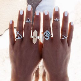 Wholesale Gypsy Style Jewelry - Vintage Design Silver Plated Triangle Midi Rings Set Women Natural Stone Boho Style Rings Set Female Charms Jewelry For Women