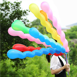 Wholesale Screwed Spiral Balloon - 100pcs lot Screw Twisted Latex Balloon Spiral Thickening Long Balloon Bar KTV Party Supplies Strip Shape Balloon Inflatable Toys