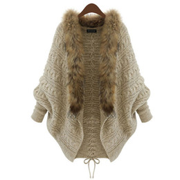 Wholesale One Size Cardigans - Wholesale- Korean Style Sweater Women's Winter Loose Fur Collar Warm Sweater Batwing Sleeve Knit Cardigan Jackets One Size