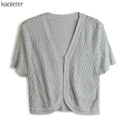 Wholesale Small Waistcoat - Wholesale- 100% Pure Knitted Silk Female Shawl Women's Hollow Wild Solid Fashion OL Cardigan Female Thin Small Waistcoat Sunscreen Shirts
