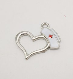 Wholesale Dainty Bracelets - Wholesale- 2016 newest design dainty jewelry rhodium plated white and red enameled nurse cap heart charm for necklace bracelet keychain
