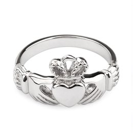 Wholesale Claddagh Bands - claddagh ring Women's Claddagh Ring Fashion 925 Sterling Silver Jewelry Wedding Band Engagement Rings for Femme anillo anillos de plata 925