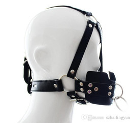 Wholesale Adult Headbands - Adult supplies locking traction mouth containing device High quality PU Sex bondage harness type full out gag Fetish limit Headband