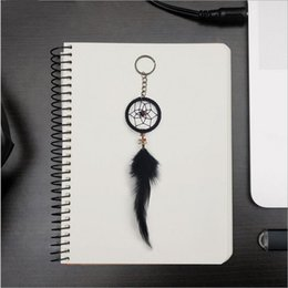 Wholesale Ring Dream Catcher - Female Key Ring Bohemian Dream Catcher Black Feather Tassel Keychain Pendant For Women Key Chains Gifts