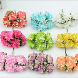 Wholesale Wholesale Mini Paper Flowers - 144pcs lot 3cm 9colors Mini Artificial Paper Rose Flower Bouquet Wedding Decor Scrapbookingg Rose Flower Kiss Ball
