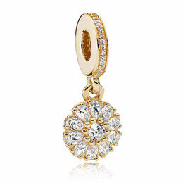 Wholesale Music Pendant Gold - Authentic 925 Sterling Silver Bead Charm Gold Embellished Floral With Crystal Pendant Beads Fit Women Pandora Bracelet Diy Jewelry HK3735
